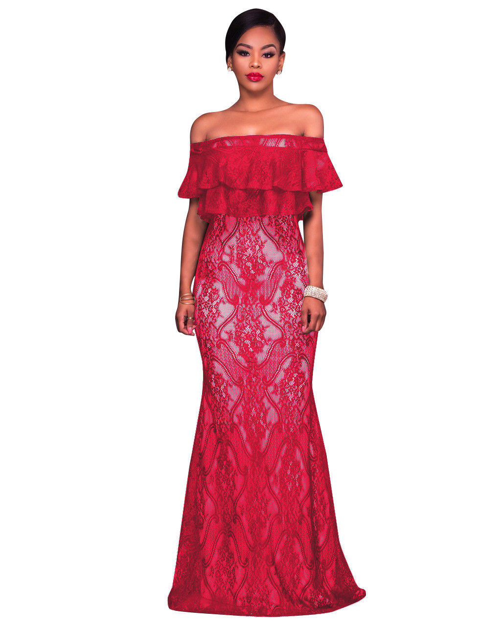 d6754d65ce67 OFF YOUR SHOULDER RUFFLE LACE MAXI DRESS