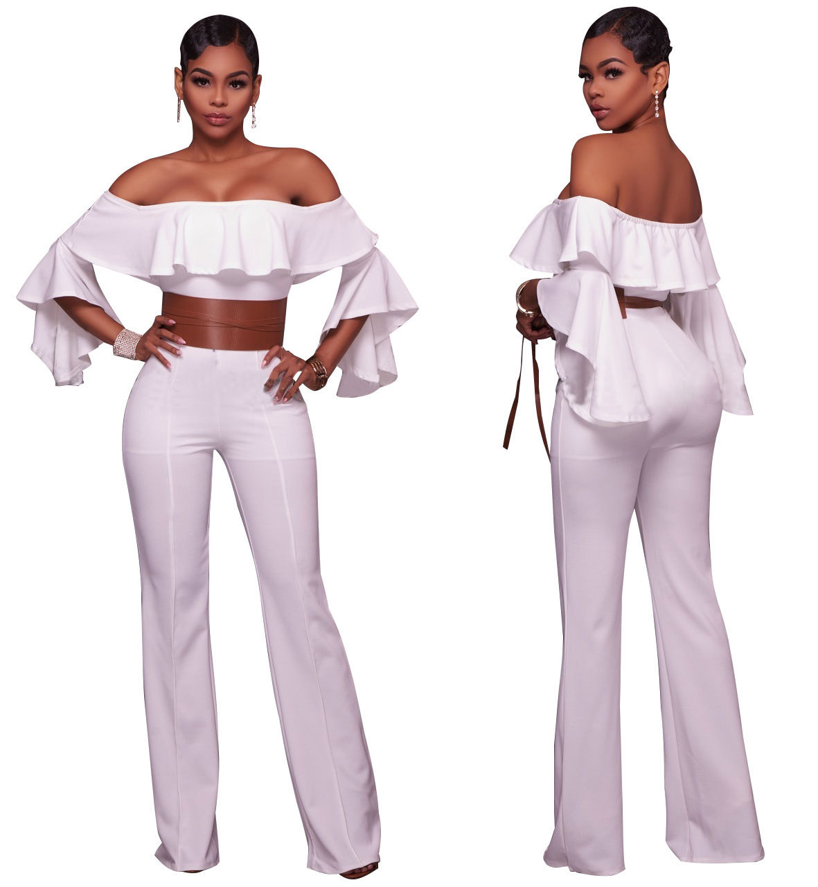 ff9a9caced03 ... OFF SHOULDER RUFFLE BELL SLEEVE JUMPSUIT Return to Previous Page. New.  lightbox