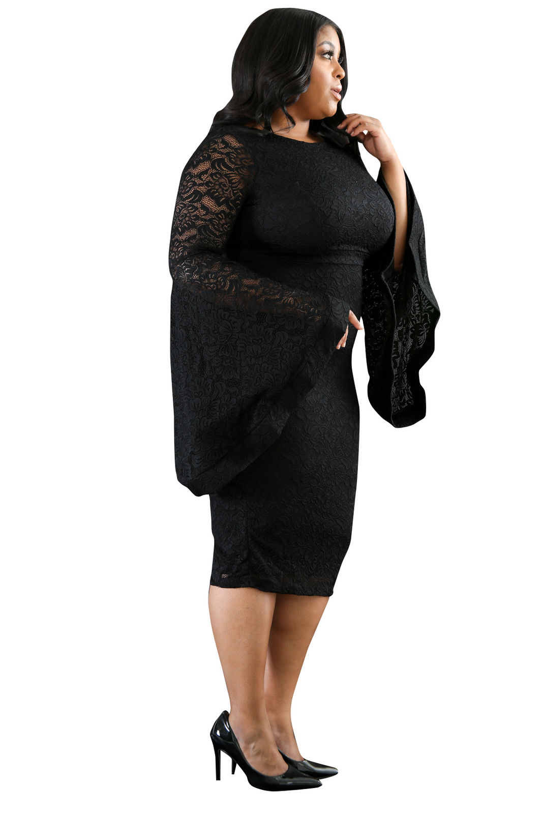 PLUS SIZE BELL SLEEVE LACE MIDI DRESS