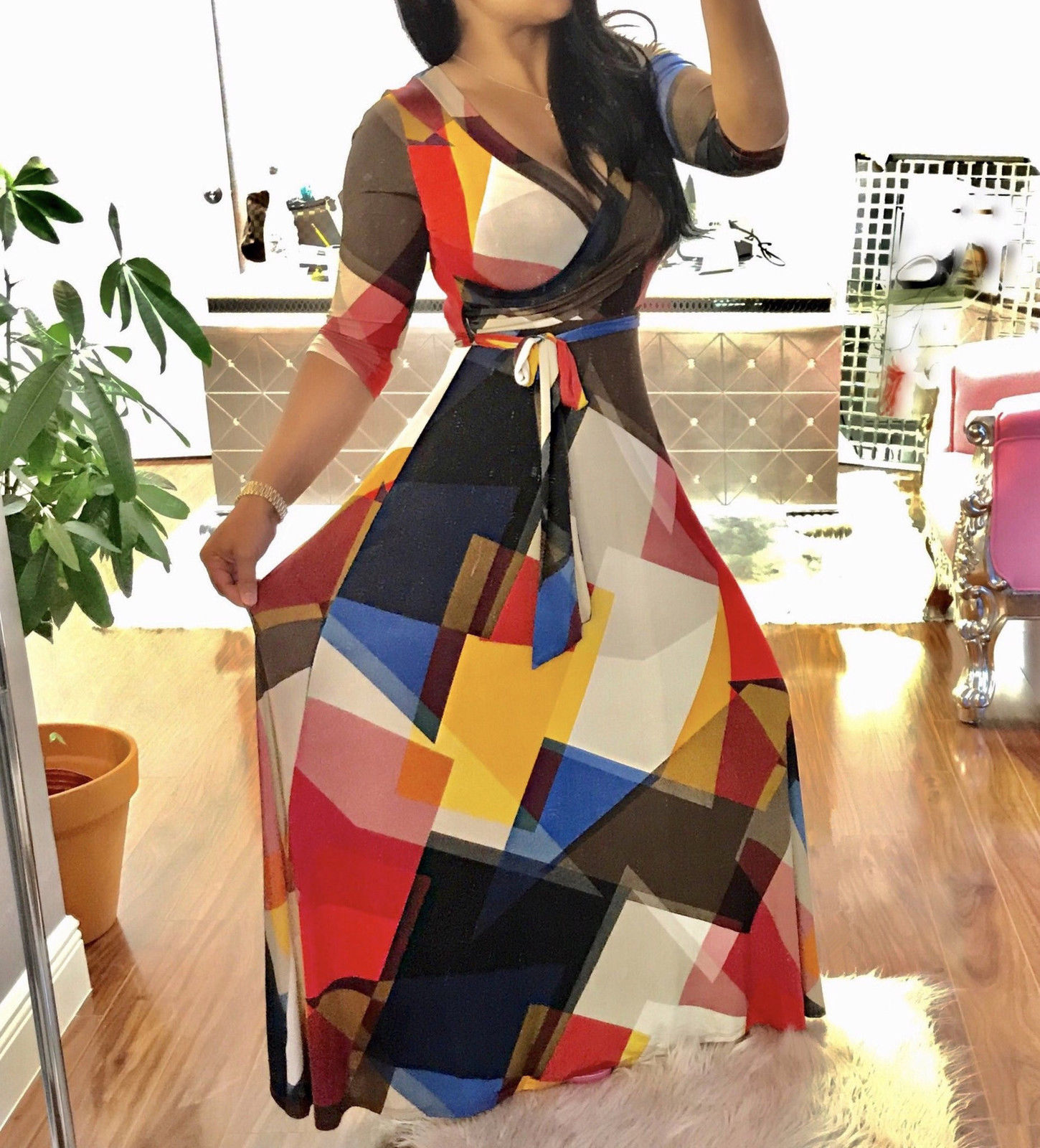 Abstract multi print maxi wrap dress