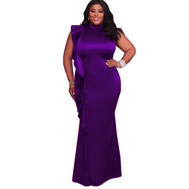 PLUS SIZE RUFFLE OVERLAY MAXI DRESS