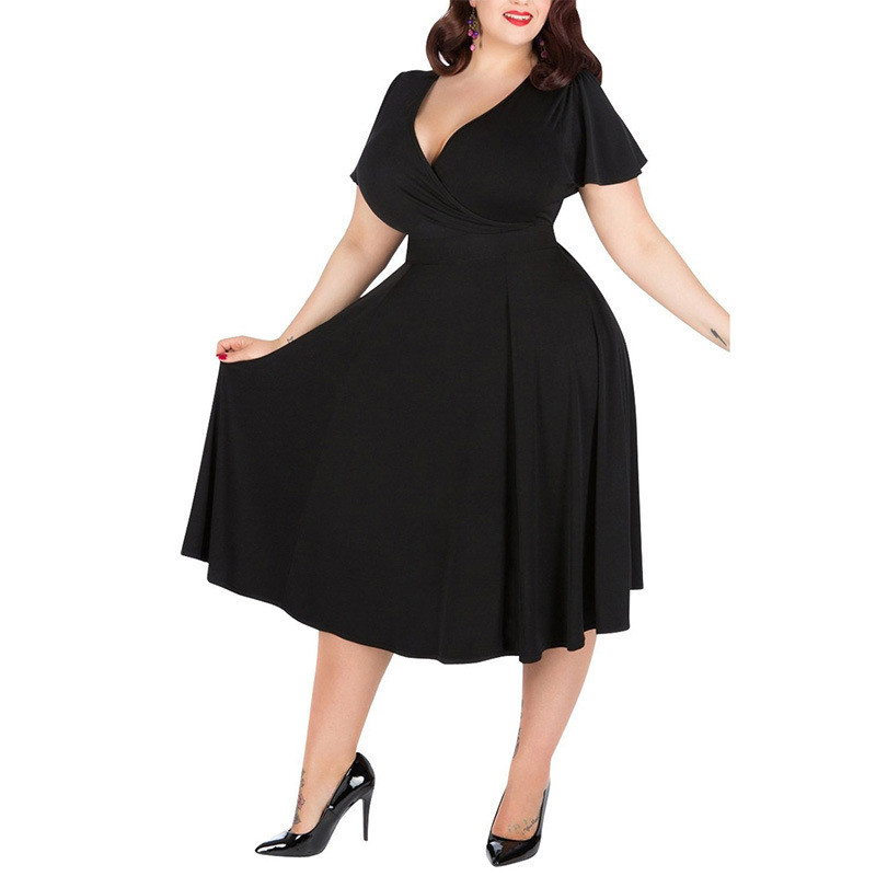 Plus Size Band Waist Detail Flare Sleeve Dress Addicted2fashion
