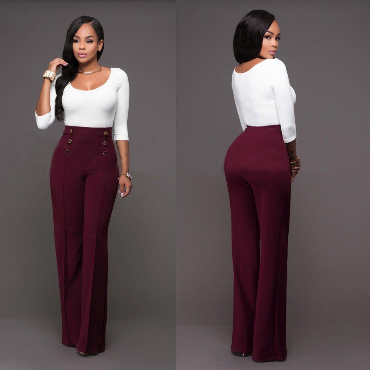 High Waist Button Detail Wide Leg Pant Plus Sizes Available