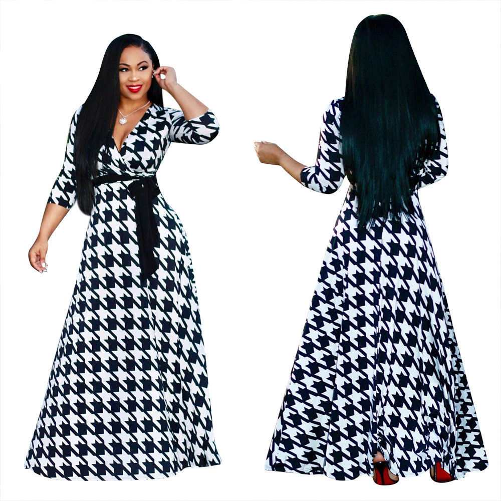PLUNGING NECK ABSTRACT PRINT FLOWING MAXI DRESS *PLUS SIZES AVAILABLE*