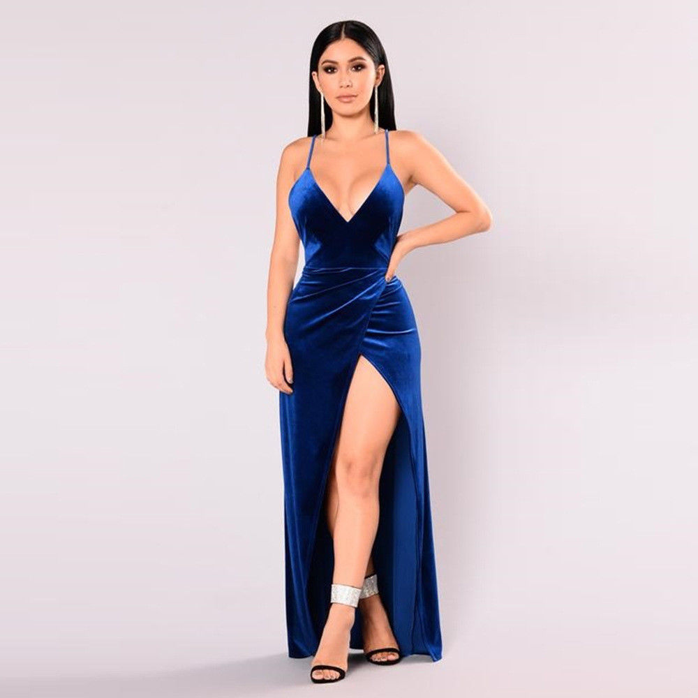 f88b780149 VELOUR THIN STRAP SPLIT MAXI DRESS