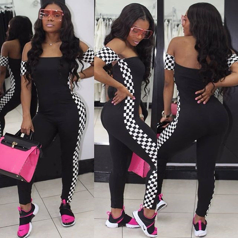 a07df2d809e ... CHECKERBOARD STRIPE PRINT JUMPSUIT Return to Previous Page. New.  lightbox