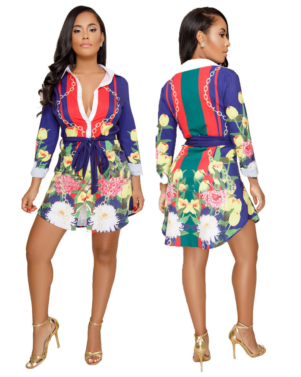 BUTTON DOWN MULTI PRINT SHIRT DRESS *PLUS SIZE AVAILABLE*