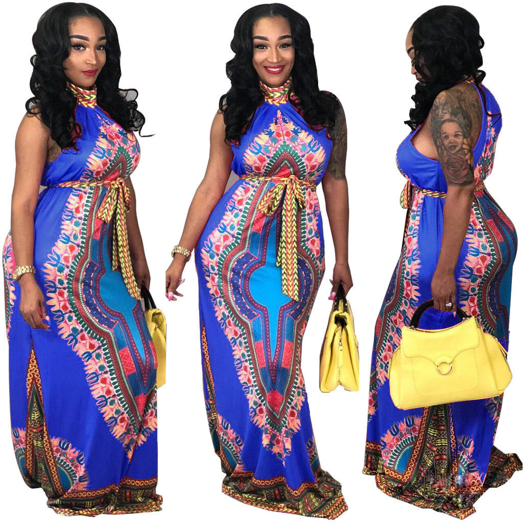 AFRICAN PRINT HALTER DESIGN MAXI DRESS *PLUS SIZE AVAILABLE*