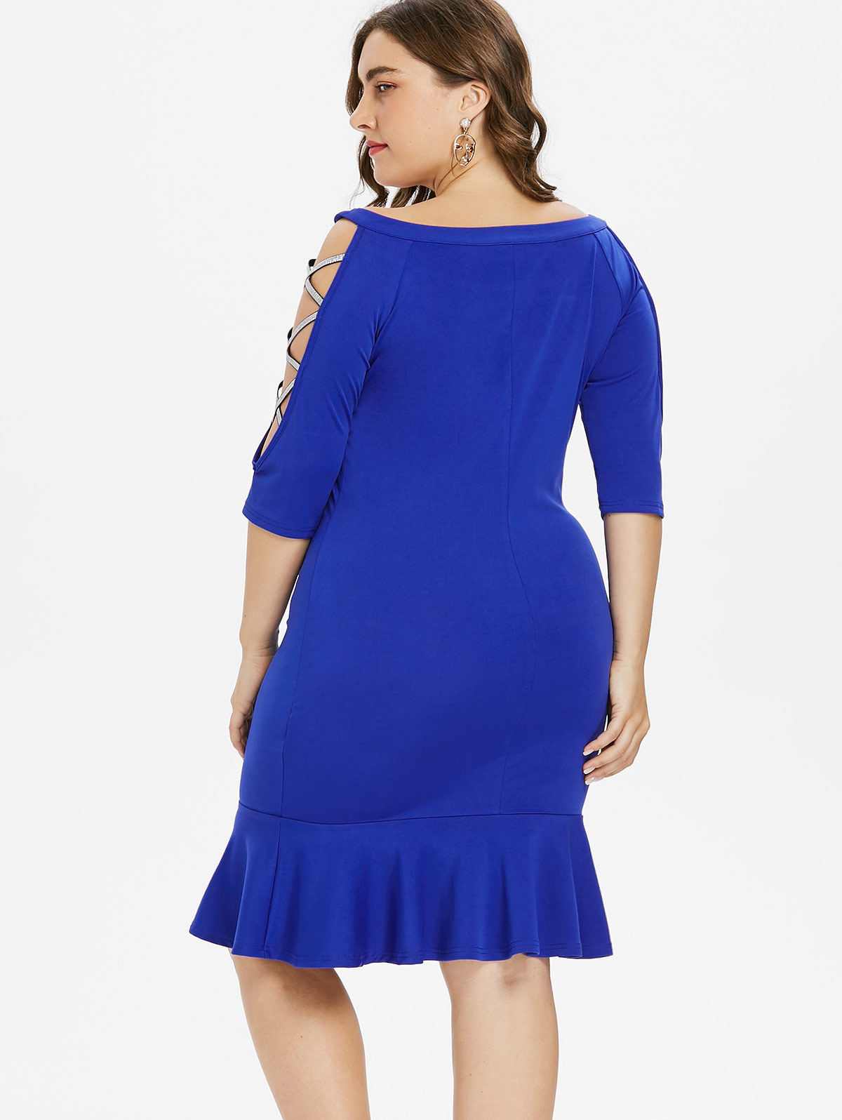 PLUS SIZE WEB SLEEVE DETAIL FISHTAIL DRESS