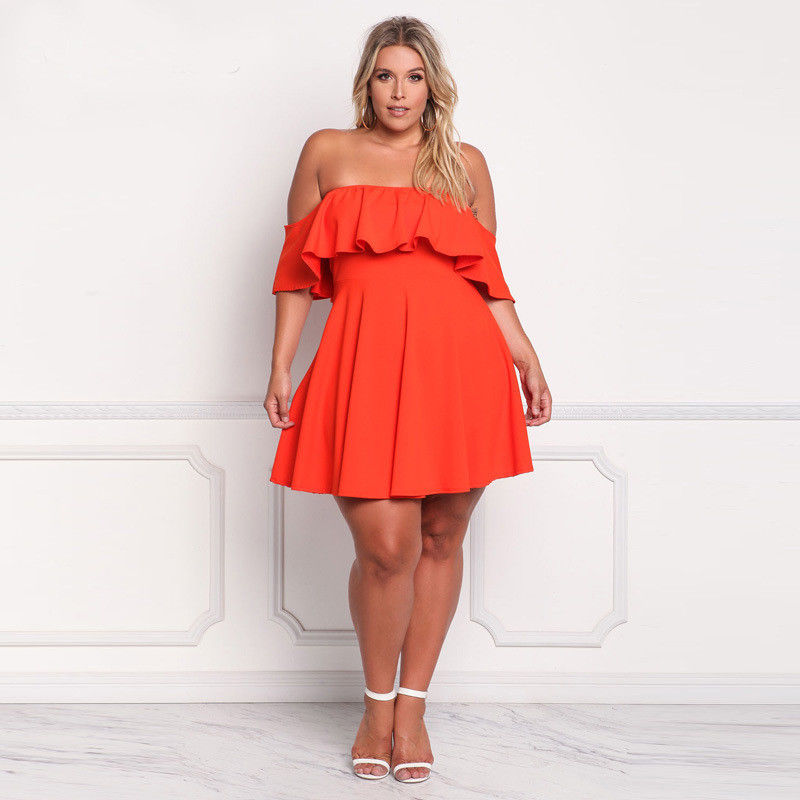 PLUS SIZE RUFFLE OFF SHOULDER FLARE SKATER DRESS