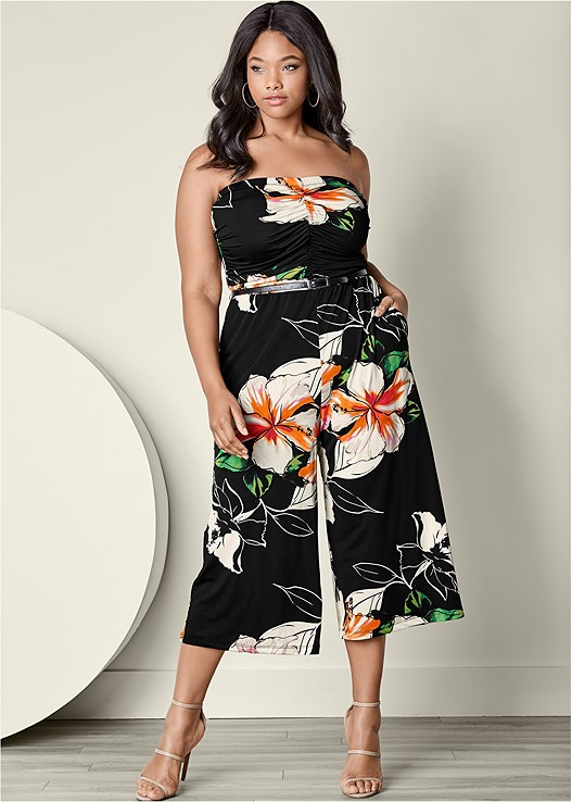 PLUS SIZE TUBE TOP FLORAL PRINT CULOTTE JUMPSUIT | ADDICTED2FASHION