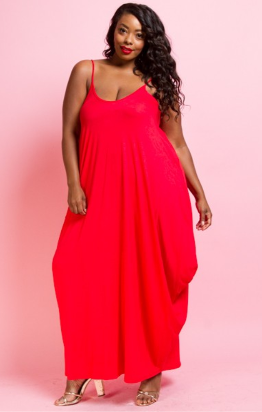 PLUS SIZE TUNIC FLOWING WITH POCKET MAXI DRESS