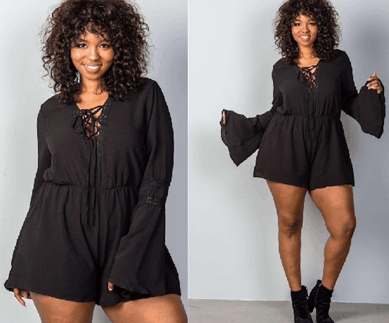 008b510cb8c8 FIT   FLARE BELL SLEEVE LACE UP PLUS SIZE ROMPER