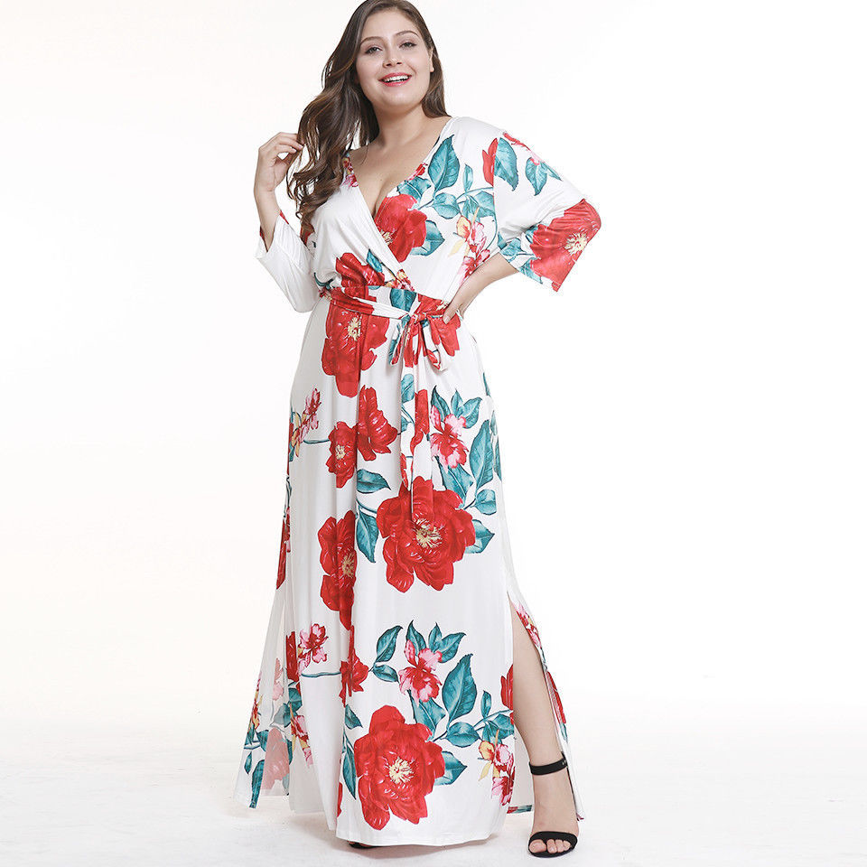PLUS SIZE FIT AND FLARE WRAP FLOWING SPLIT MAXI DRESS