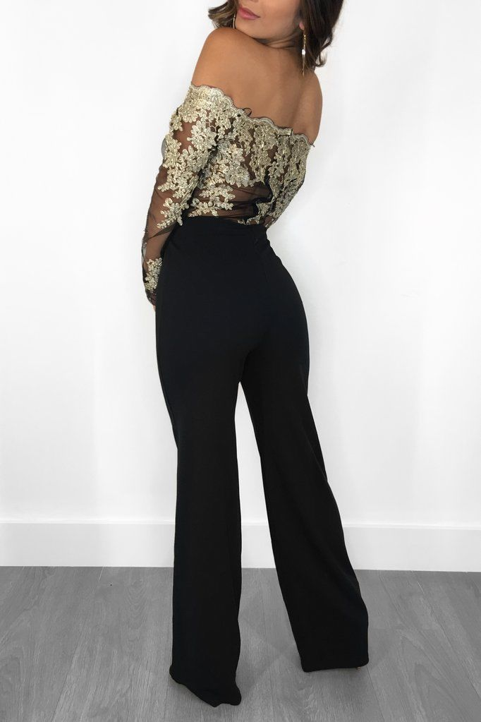 6191bb3a437e ... OFF SHOULDER SHEER LACE DESIGN JUMPSUIT Return to Previous Page. New.  lightbox · lightbox