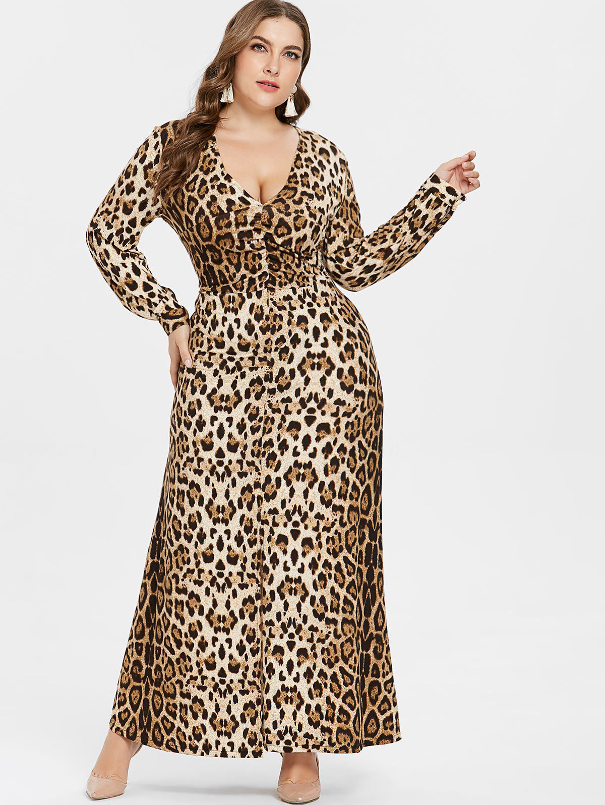 PLUS SIZE LEOPARD PRINT FIT & FLARE MAXI DRESS