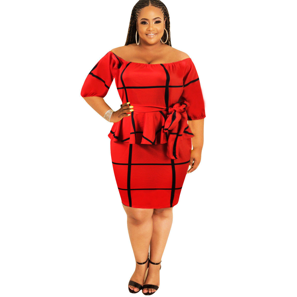 PLUS SIZE OFF SHOULDER STRIPE PEPLUM DRESS