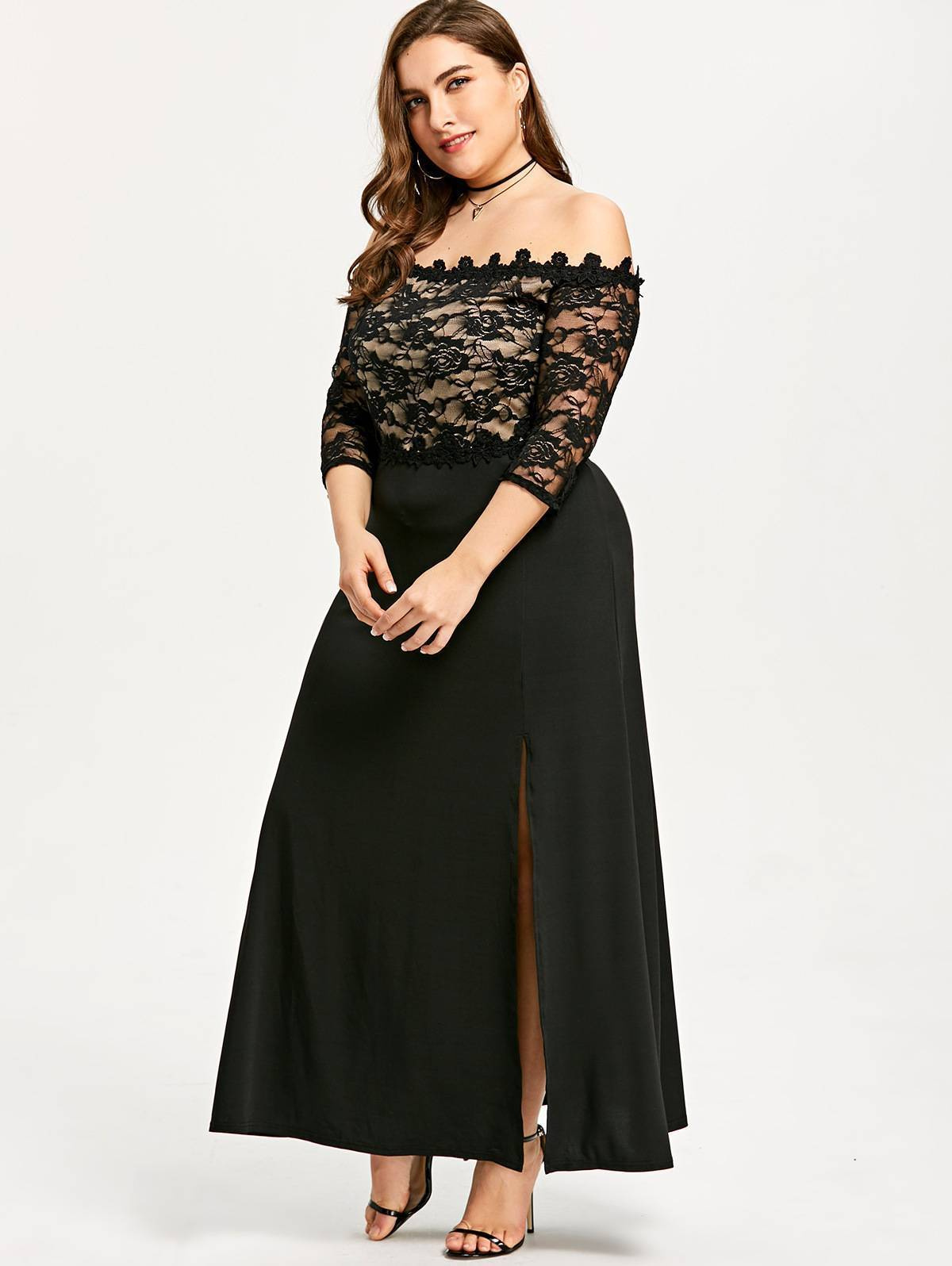 PLUS SIZE LACE OFF SHOULDER SPLIT MAXI DRESS | ADDICTED2FASHION