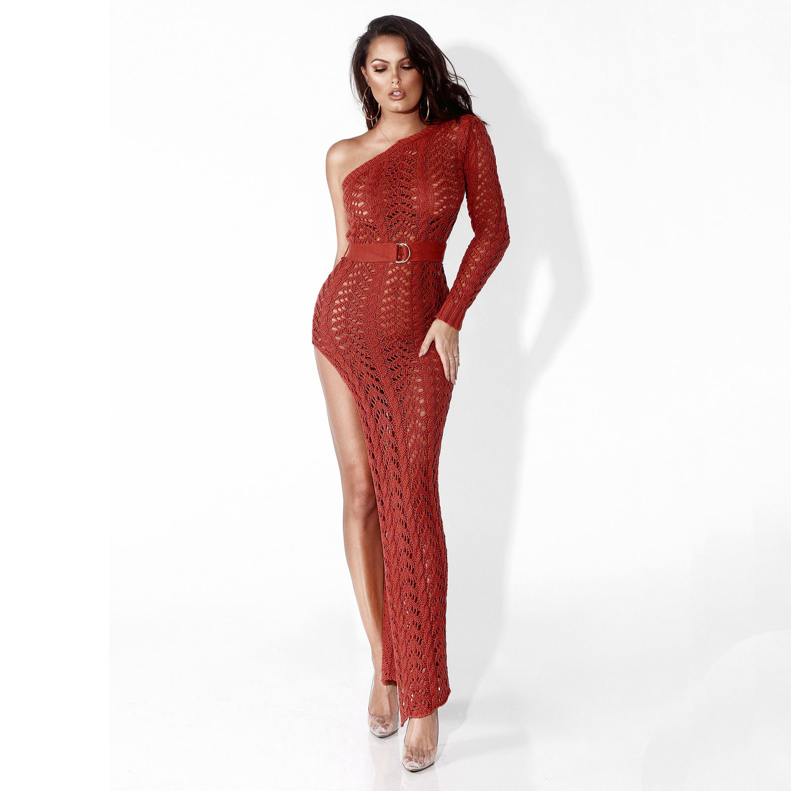 One Shoulder Knitted High Split Maxi Dress Addicted2fashion