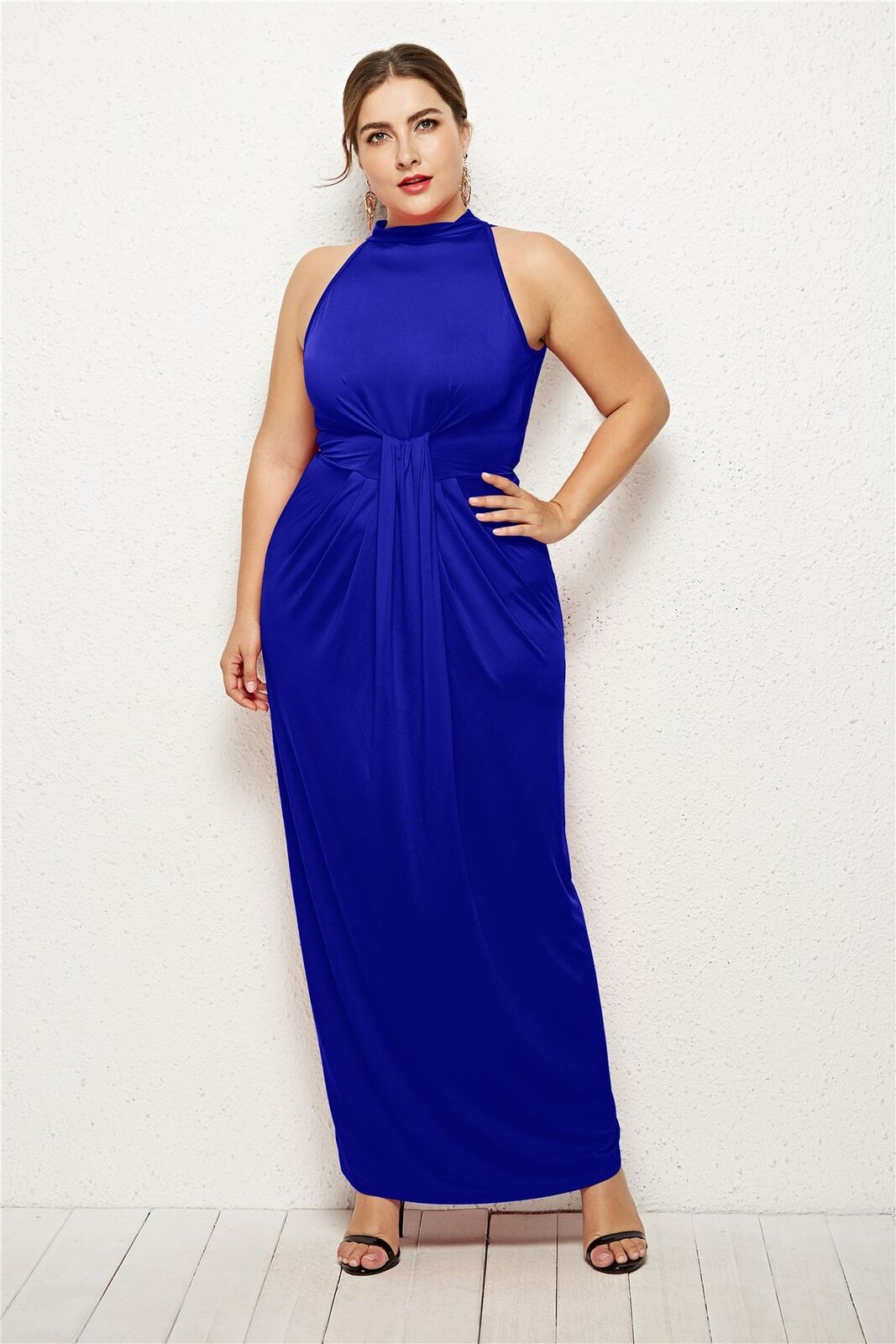 PLUS SIZE CHOKER NECK RUCHED MAXI DRESS