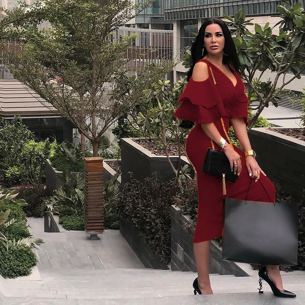 590d25363259 ... DOUBLE RUFFLE SLEEVE COLD SHOULDER MIDI DRESS *PLUS AVAILABLE* Return  to Previous Page. New. lightbox · lightbox