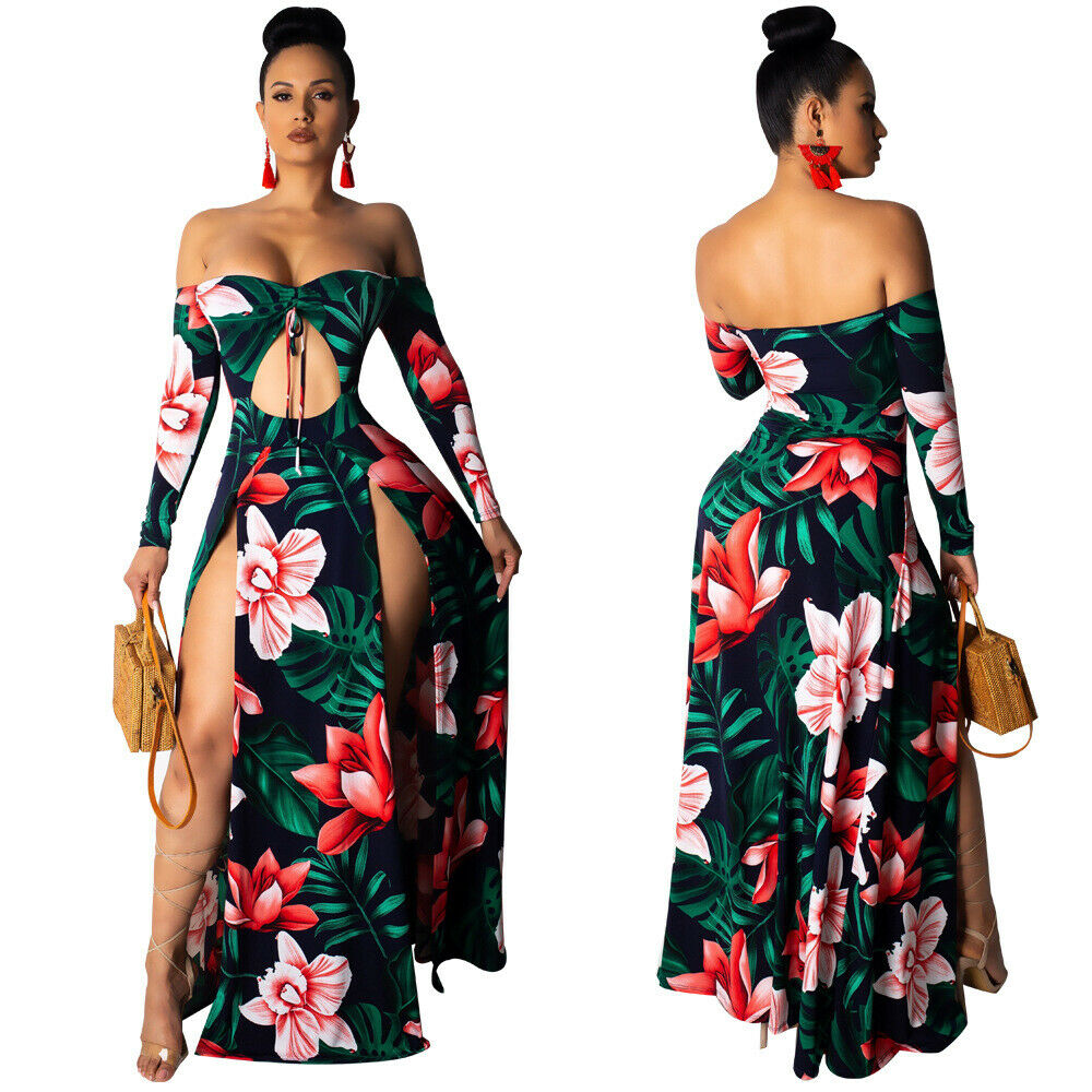 OFF SHOULDER DOUBLE SPLIT FLORAL PRINT DRESS *PLUS SIZE AVAILABLE*