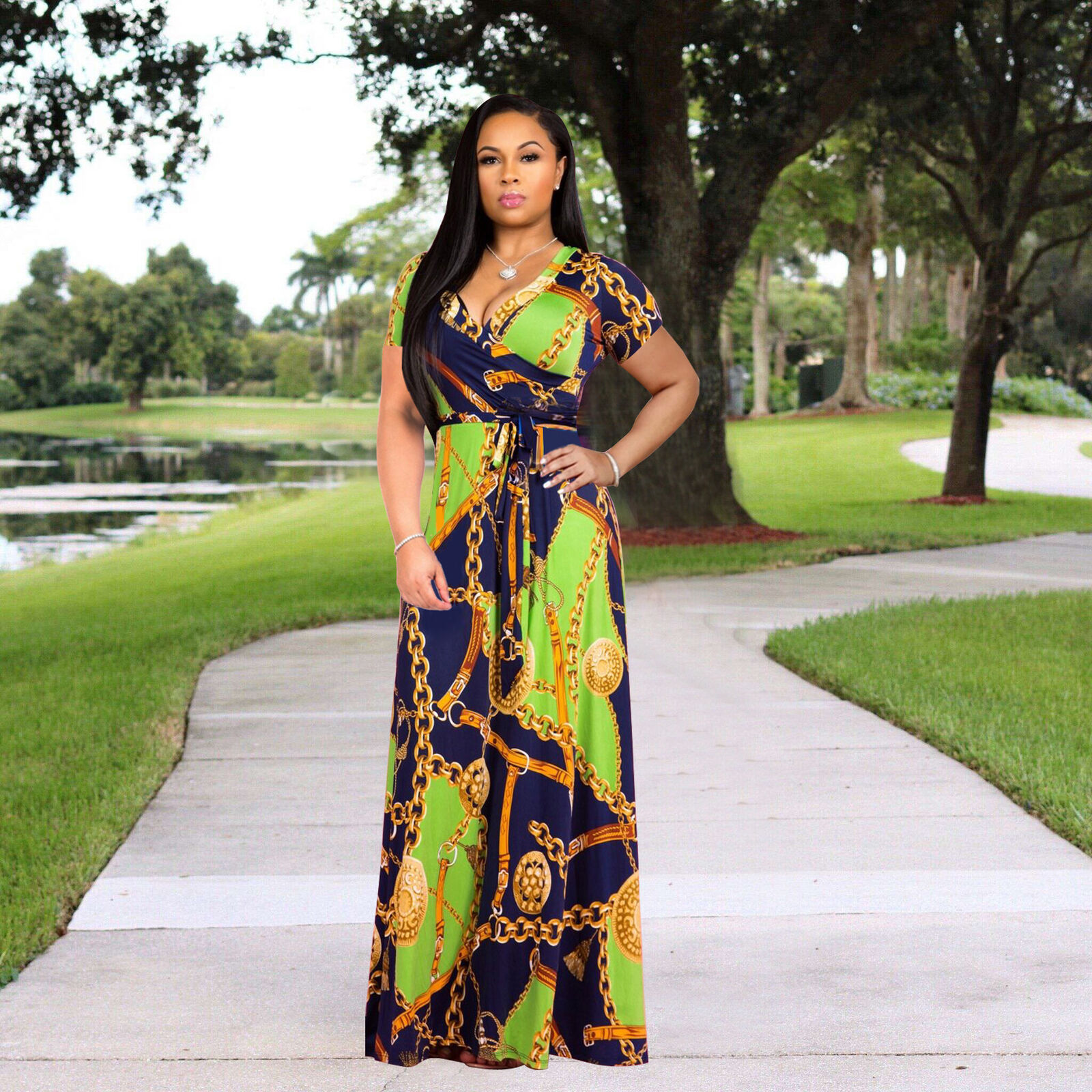 SHORT SLEEVE CHAIN-LINK DESIGN WRAP MAXI DRESS . *PLUS SIZE AVAILABLE*