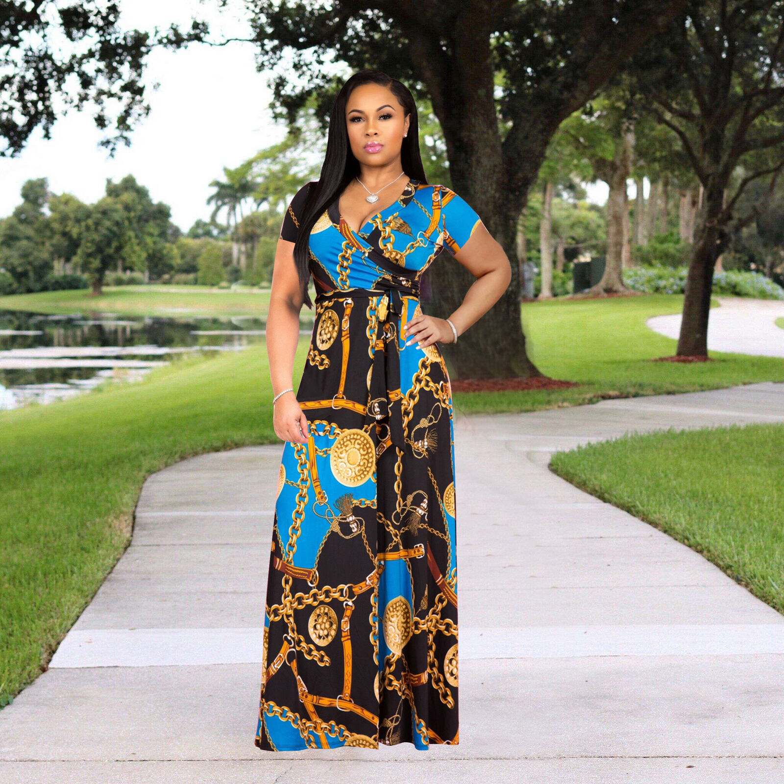 SHORT SLEEVE CHAINLINK DESIGN WRAP MAXI DRESS . *PLUS SIZE AVAILABLE*