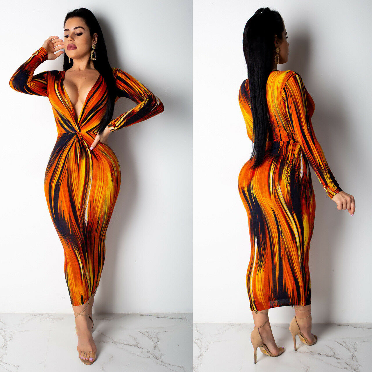 PLUNGING NECKLINE ABSTRACT PRINT MIDI DRESS *PLUS SIZE AVAILABLE*