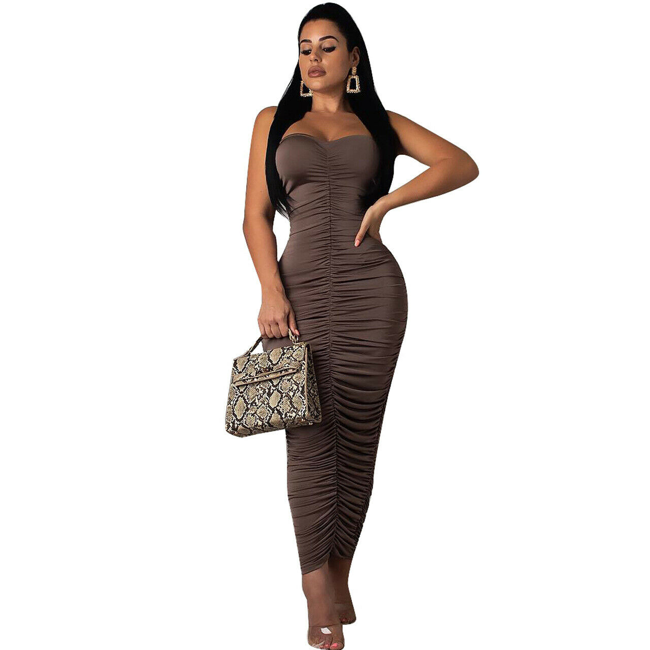 TUBE TOP RUCHED DESIGN MAXI DRESS *PLUS SIZE AVAILABLE ...