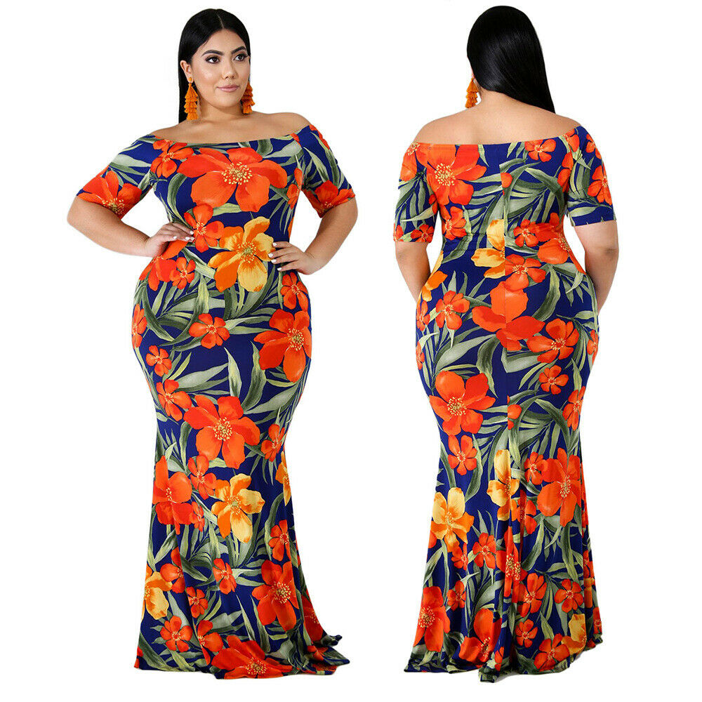 PLUS SIZE OFF SHOULDER FLORAL MAXI DRESS