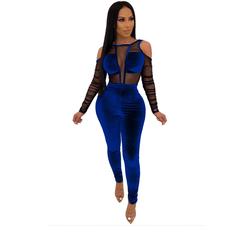 Cold Shoulder Sheer Mesh Velvet Jumpsuit Plus Size Available Addicted2fashion