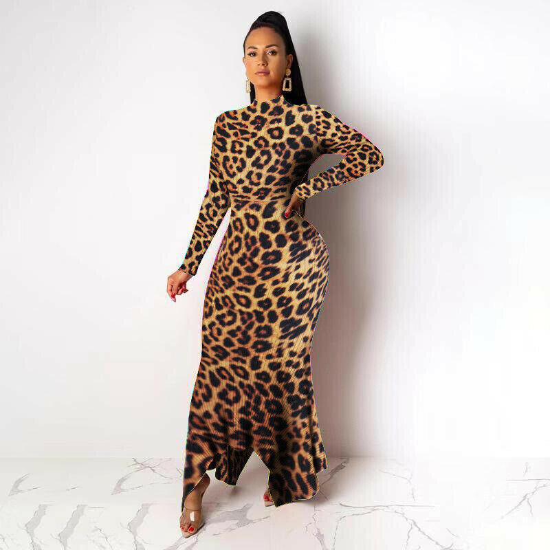 LEOPARD PRINT RIBBED ASYMMETRICAL SWEATER DRESS *PLUS SIZE AVAILABLE*